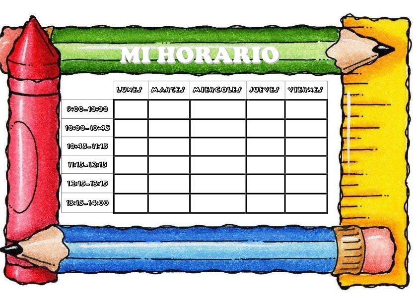 plantilla de horarios borde escolar colores-3 | • Material Didáctico ...