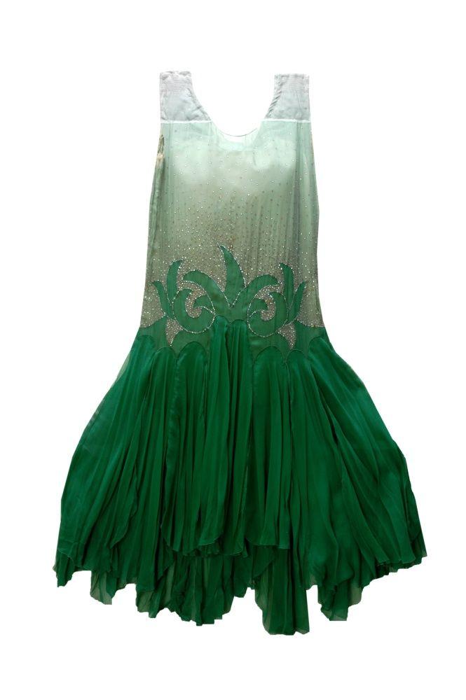 Green organza dress, late 1920s. Green Organza, late 1920s. \