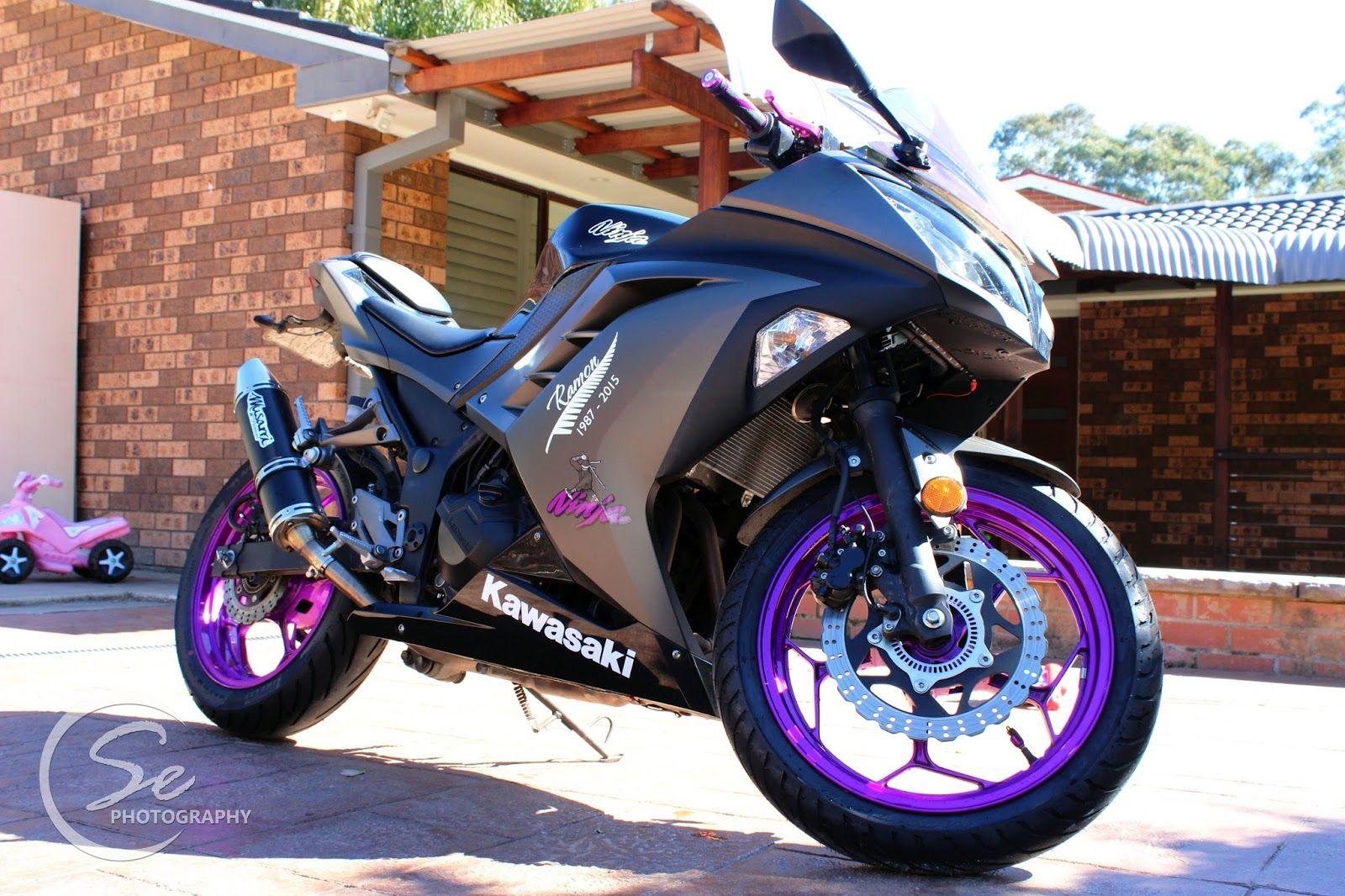 kawasaki ninja 300 custom bike in black amp purple