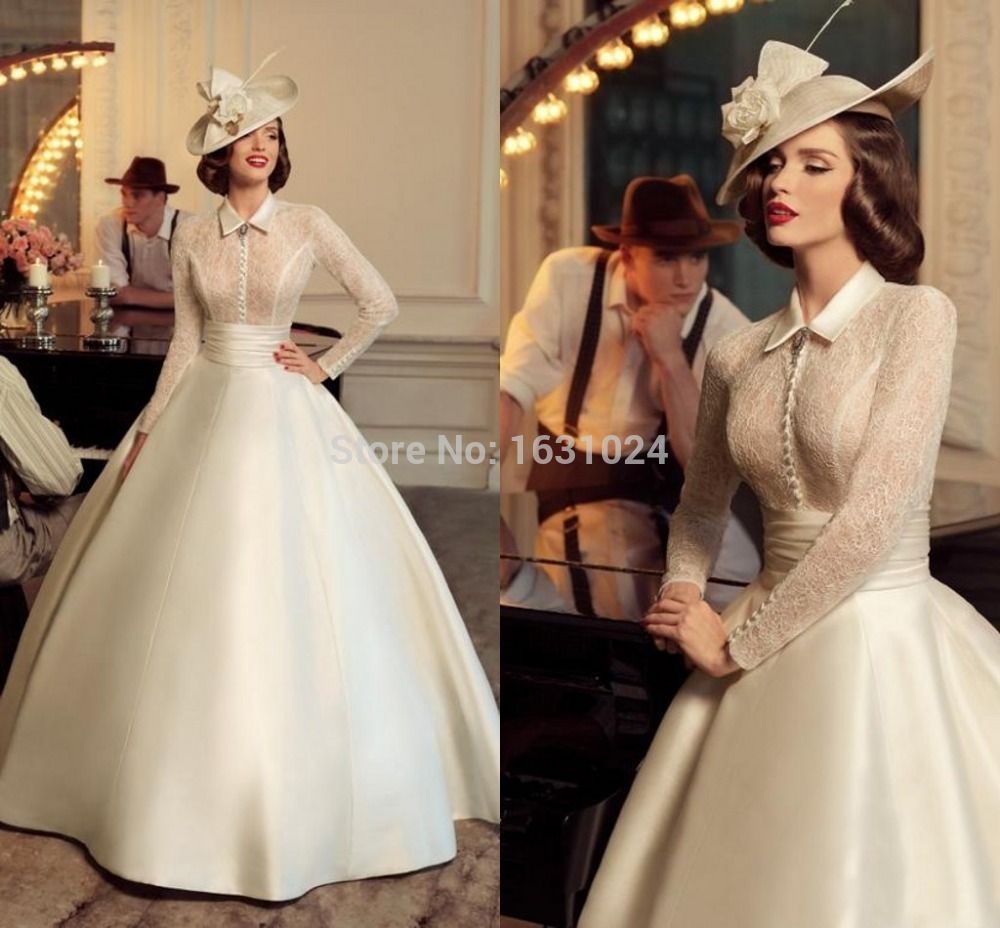 retro 2016 wedding dresses with collar buttons ball gown lace long