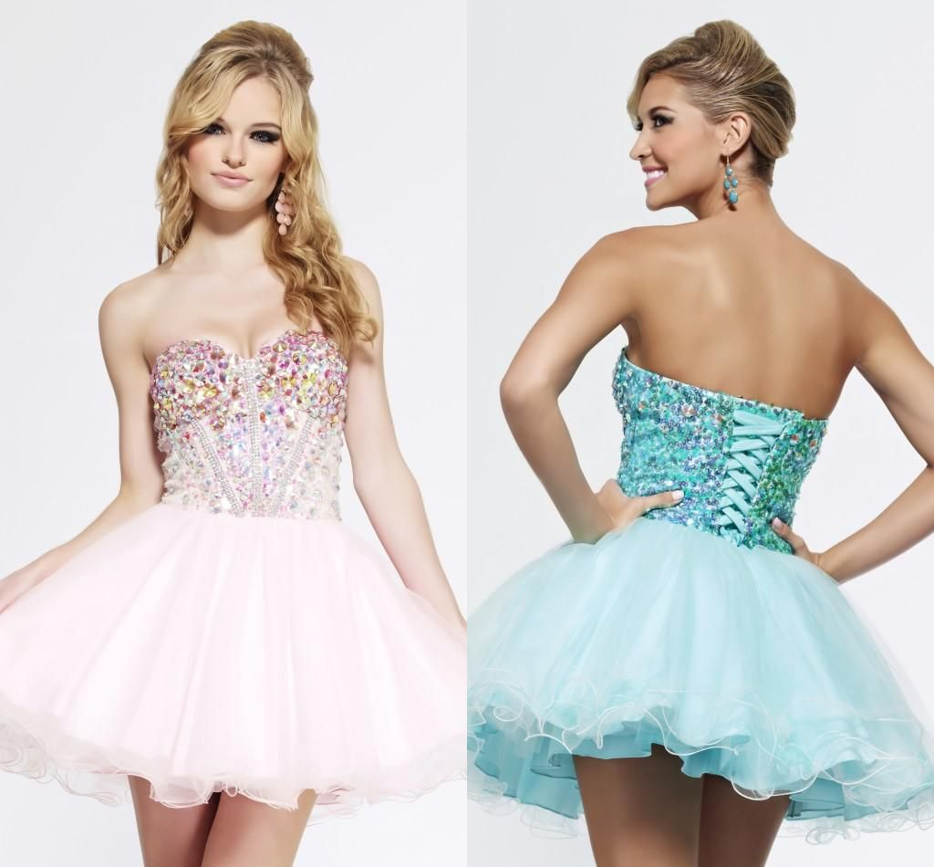 Shining New Sweetheart Neckline Short Homecoming Party Dress Crystals Tulle Sleeveless Boned Mini A-line Lace Up Cocktail Dresses Gowns 2014 from Weddingdressesonline,$82.56 | DHgate.com