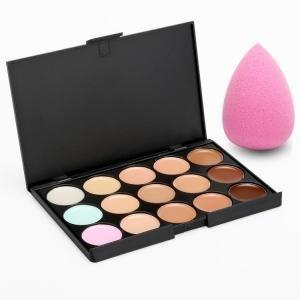 #AdoreWe #Dresslink Dresslink 15 Colors Face Cream Concealer Palette with Sponge Puff - AdoreWe.com
