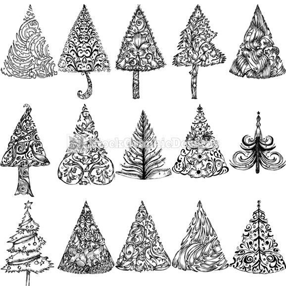 Hand Drawn Christmas Tree Vector Illustration Stockgraphicdesigns