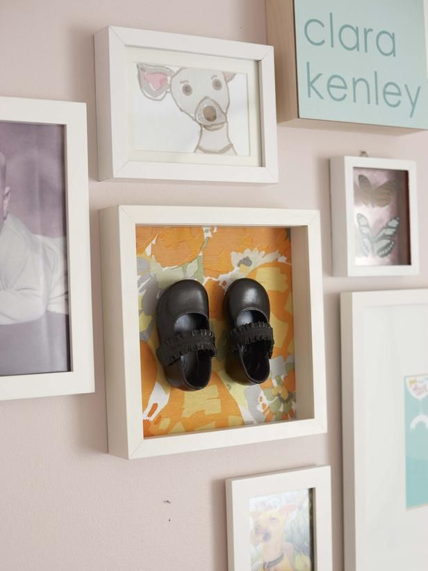 Bronzed baby shoes are a classic keepsake, but even classics need an update every now and then. If you can't part with your little one's slippers but they're taking up space, make some shadowbox art like John and Sherry Petersik of Young House Love did here.
