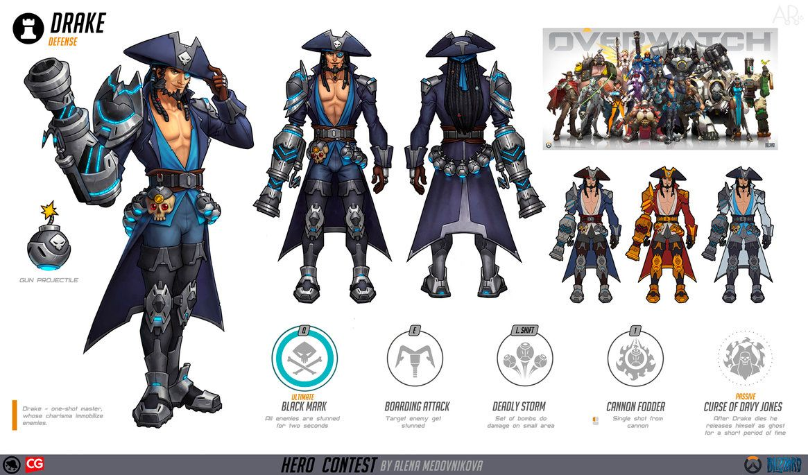 Character Design Overwatch : Drake for overwatch concept by anhel on deviantart