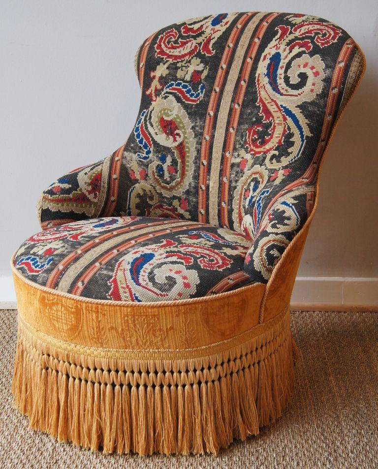 Edwardian needlepoint slipper chair slipper chairs