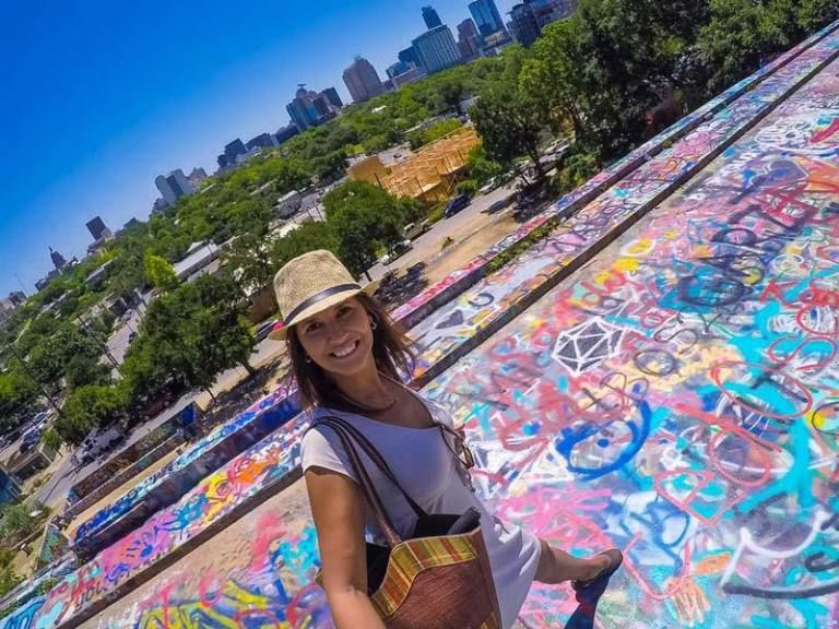 Murals and the graffiti park downtown austin texas with