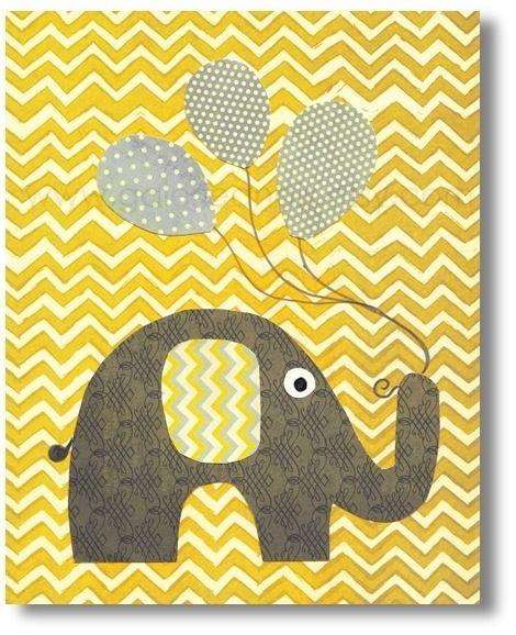 Illustration pour chambre d\'enfant garcon, fille. elephant, jaune ...