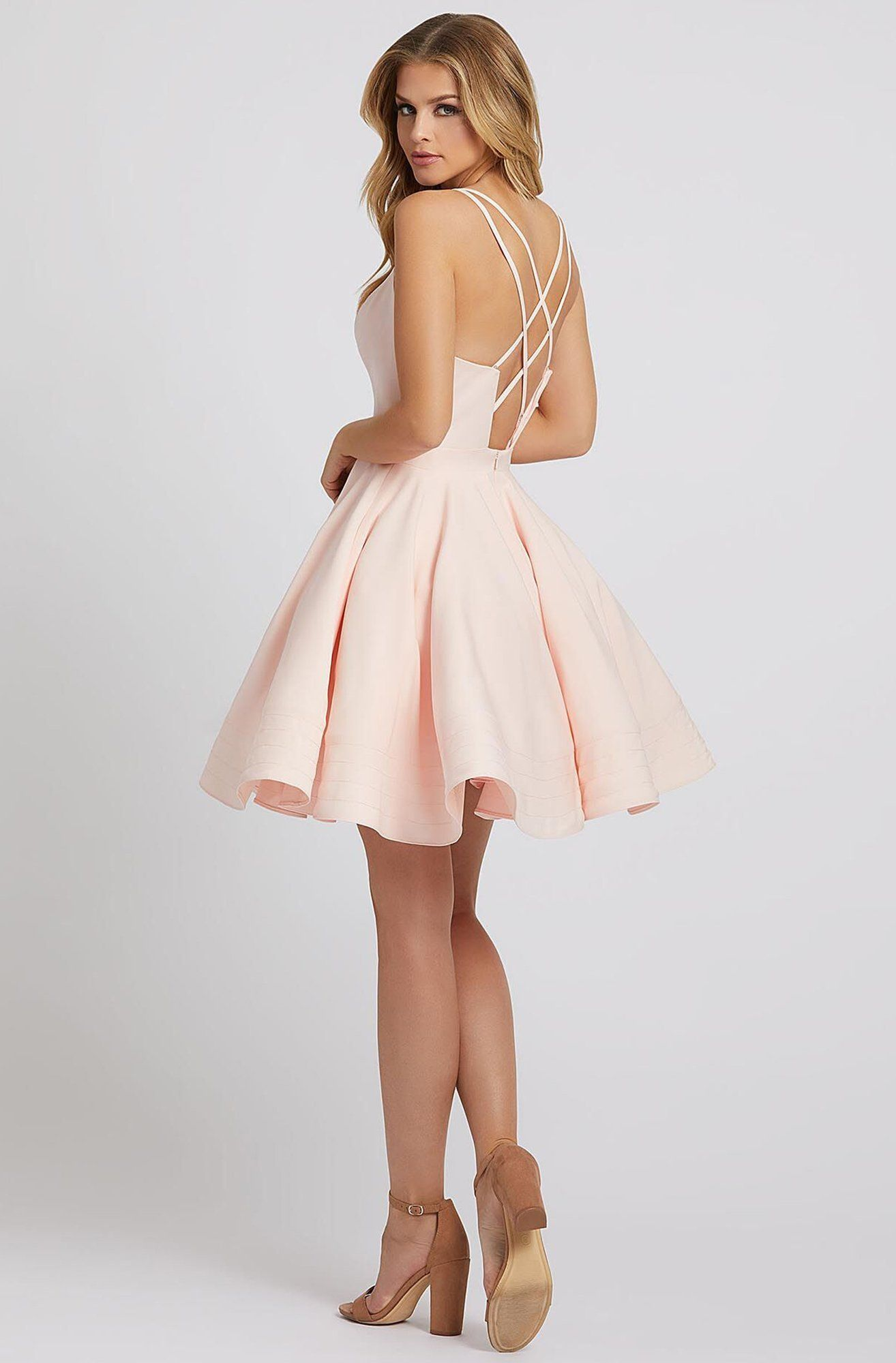 Ieena Duggal - 48948I Cutout Strapped V Neck A-Line Cocktail Dress #backlesscocktaildress