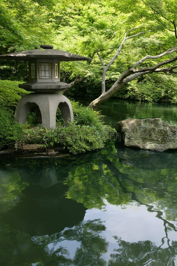 Photo of Japanese garden and pond. A Japanese Garden and pond in Tokyo Japan , #spon, #po…