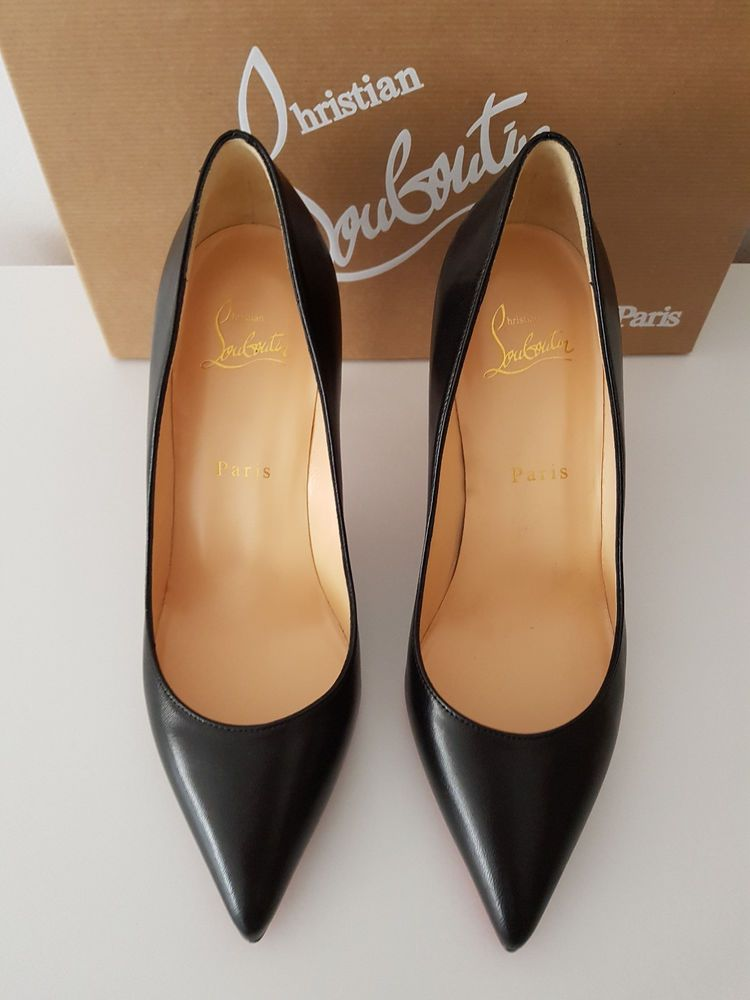 7cc1cb7ae95f CHRISTIAN LOUBOUTIN Pigalle 85 Nappa Shiny Black Leather 38  fashion   clothing  shoes