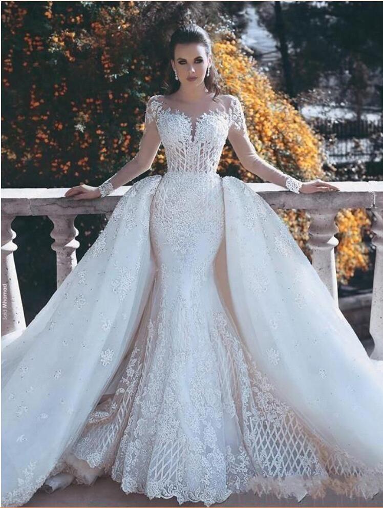Luxuxy Weiße Brautkleider Mit Ärmel Spitze A Linie