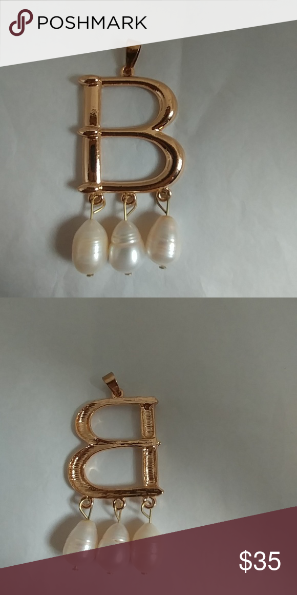 90783fe42a Goldtone Initial Pendant with 3 Freshwater Pearls Gold Tone B pendant 3  Freshwater pearls in teardrop design Approximately 2 inches long (