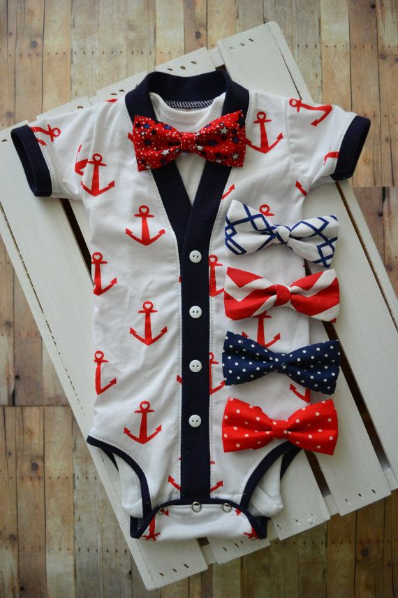 dc2f481e4 Fourth of July Cardigan Onesie  White with Red Anchors and Blue trim ...