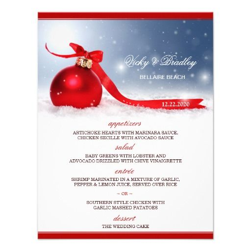 Christmas Wedding Menu Card Template Christmas Wedding - christmas menu word template