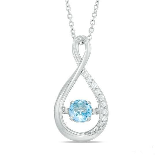 Zales Unstoppable Love Lab-Created Blue and White Sapphire Heart Frame Cross Pendant in Sterling Silver 43jPSJKaGO