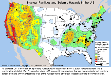 US Nuclear Reactor Power Plant Seismic Hazard And Historical - Map of nuclear plants in usa