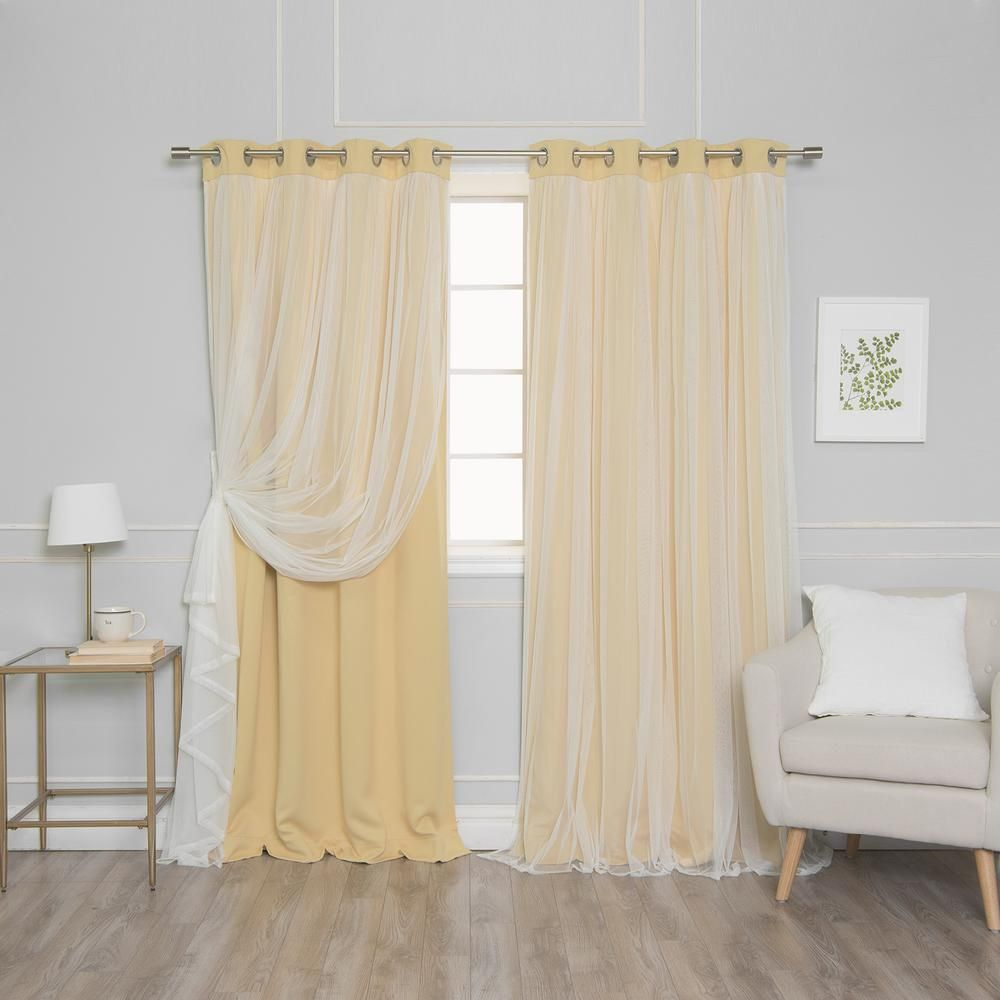 Best Home Fashion 108 In L Marry Me Lace Overlay Blackout Curtain