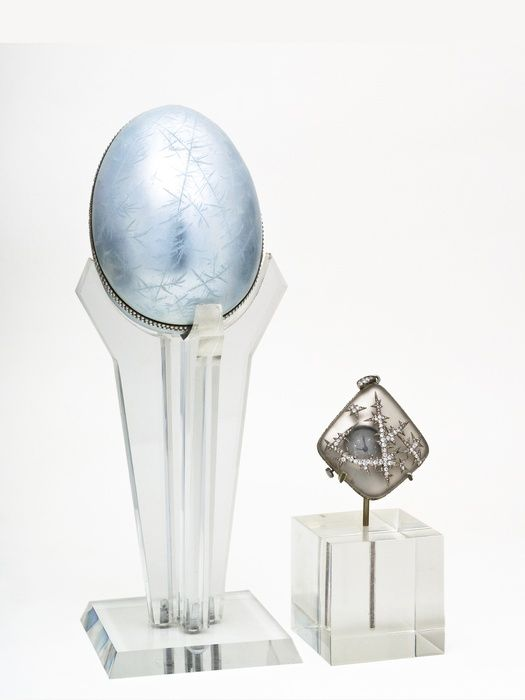 Nobel Ice Egg and 'Surprise' Watch Pendant by Fabergé, workmaster Albert Holmstrom, St. Petersburg 1913.
