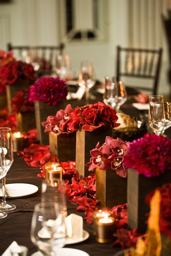 Brown and magenta wedding centerpieces tablescape