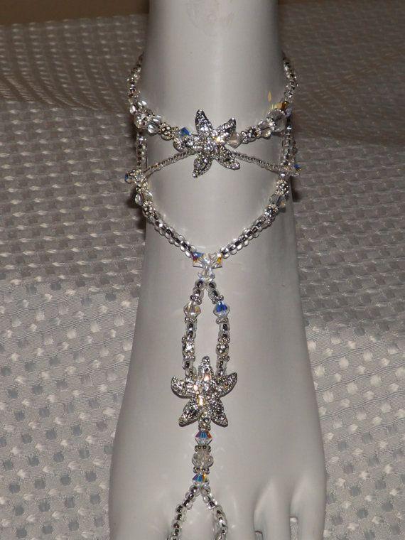 Beach Wedding Barefoot Swarovski Sandals Starfish Foot Jewelry Bridesmaids Gift