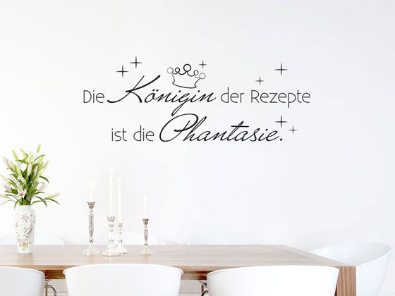 wandtattoo tattoo wandaufkleber deko f r k che spruch die k nigin der rezepte. Black Bedroom Furniture Sets. Home Design Ideas