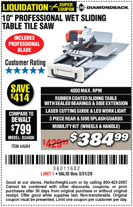 Diamondback 10 In 2 4 Hp Heavy Duty Wet Tile Saw With Sliding Table For 384 99 In 2020 Sliding Table Harbor Freight Tools Tile Saw