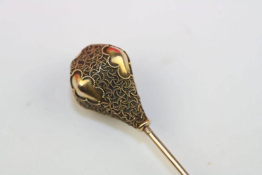 Estate Victorian Antique 18k Gold Etruscan Revival Long Hat Pin