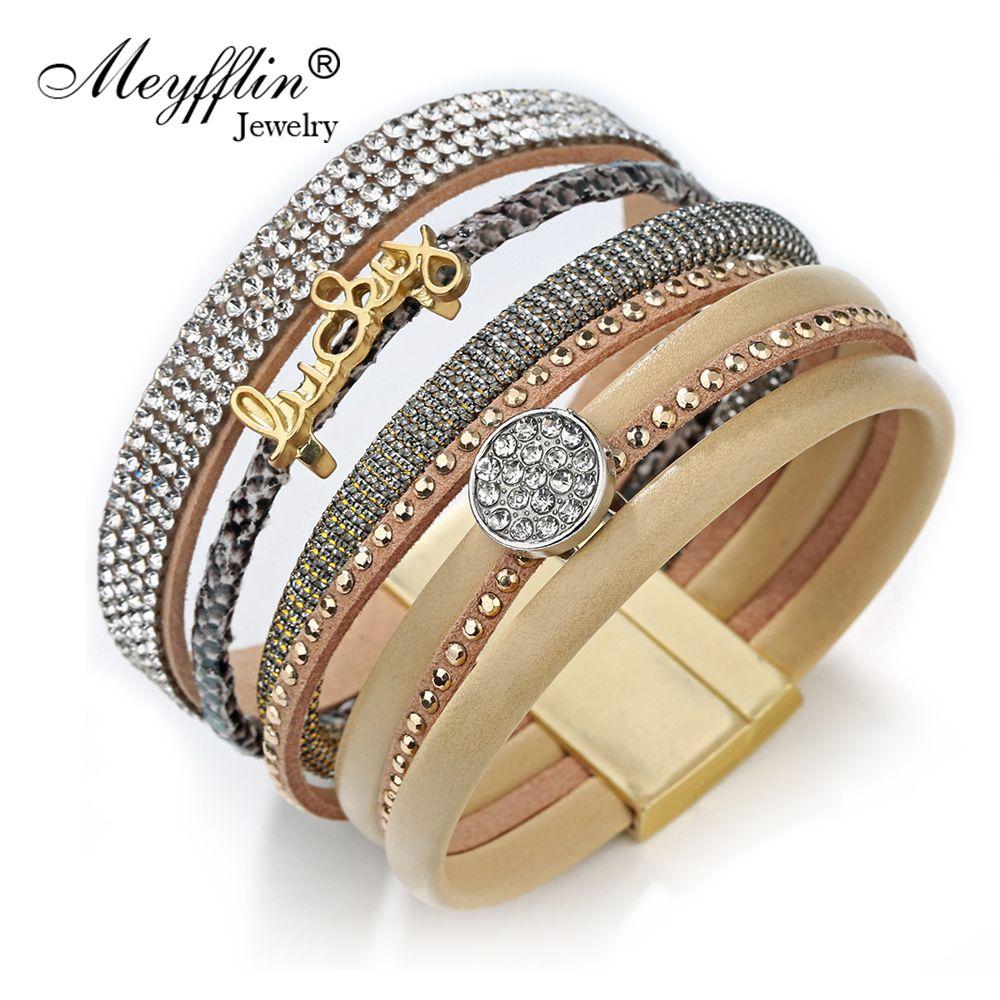 Pulseras mujer fashion wrap leather bracelet magnetic bracelets
