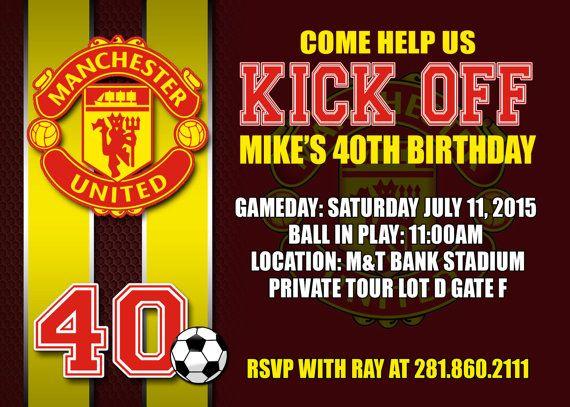 Manchester United Digital Birthday Invitation Soccer Diy Party Invitation Soccer Birthday Invitation Birthday Invitations Party Invitations Diy