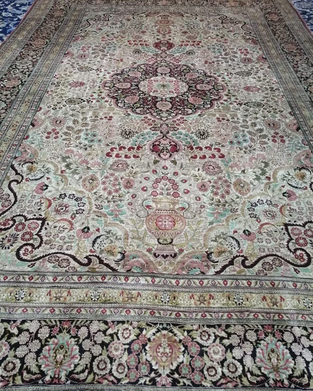 Colors Are Attractive Hand Made Carpet From Iran Qum High Quality Full Silk Carpet Size Is 6 9 Dm For Price Queries Limited Viscose Rug Rugs On Carpet Rugs