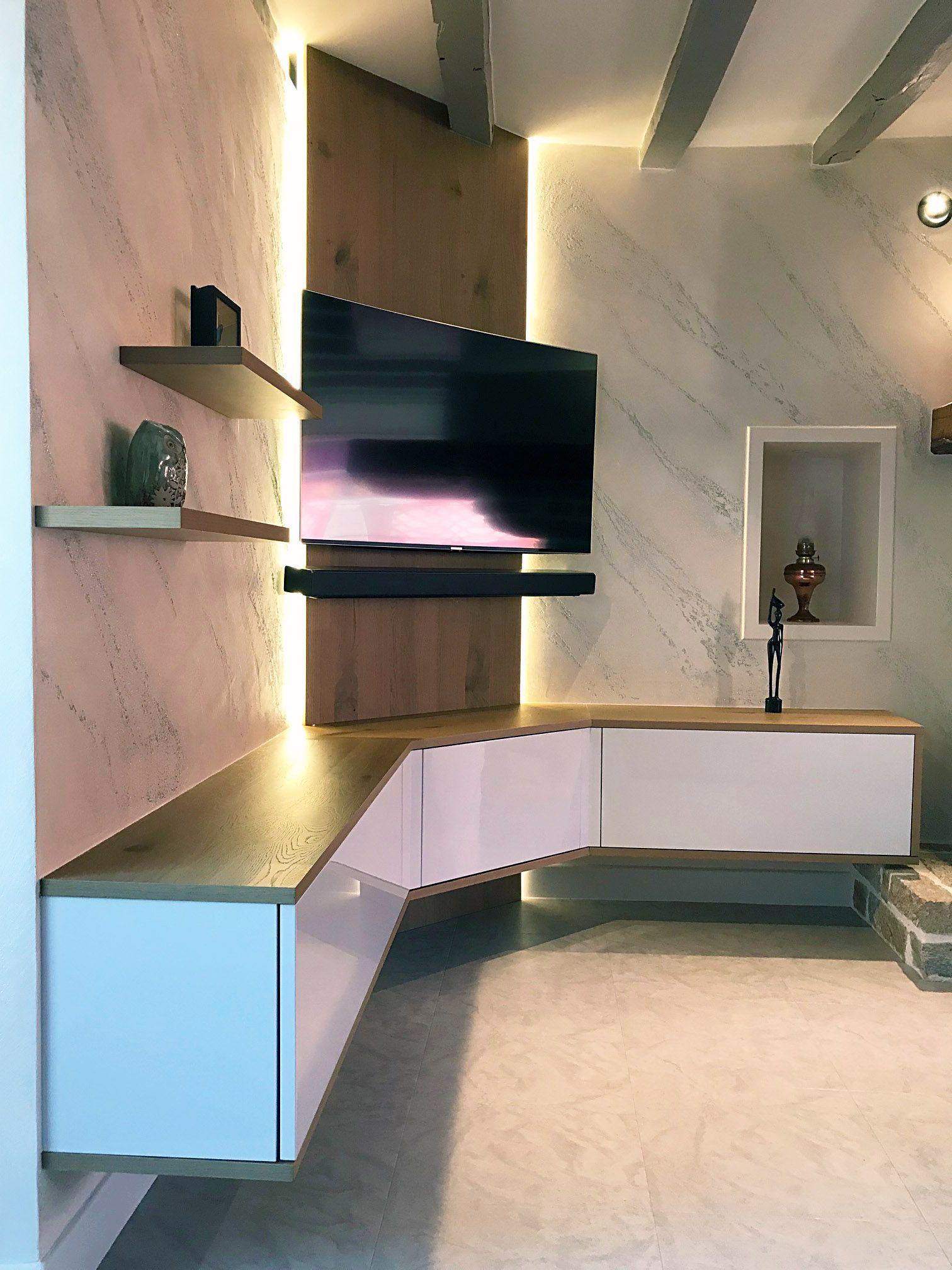 Makeover Of The Living Room With A New Suspended Tv Stand Knot Oak Finish Goruntuler Ile Ev Dekorasyon Fikirleri Ev Icin Ev Dekorasyonu