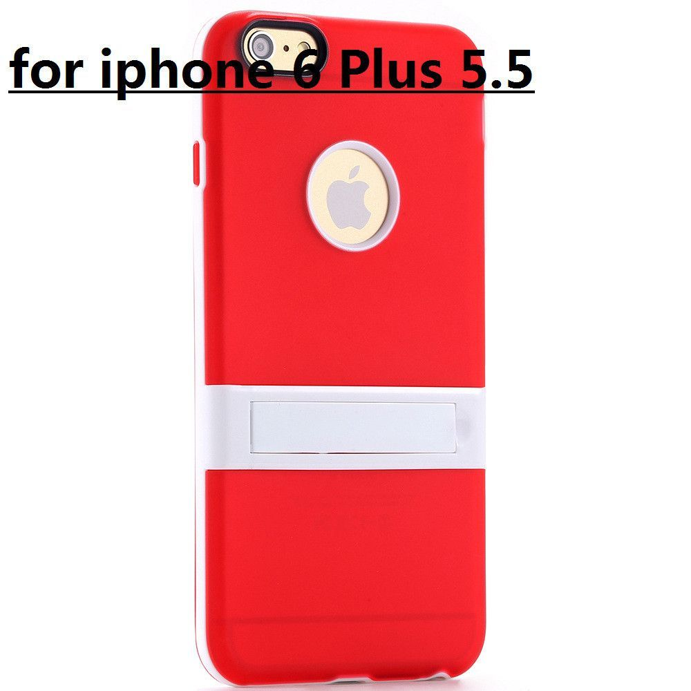 New Candy Color! Kickstand Soft TPU Case for Apple iphone 6 4.7/ Plus 5.5 Ultrathin Lovely Back Cover hole Logo +Body Stand Case