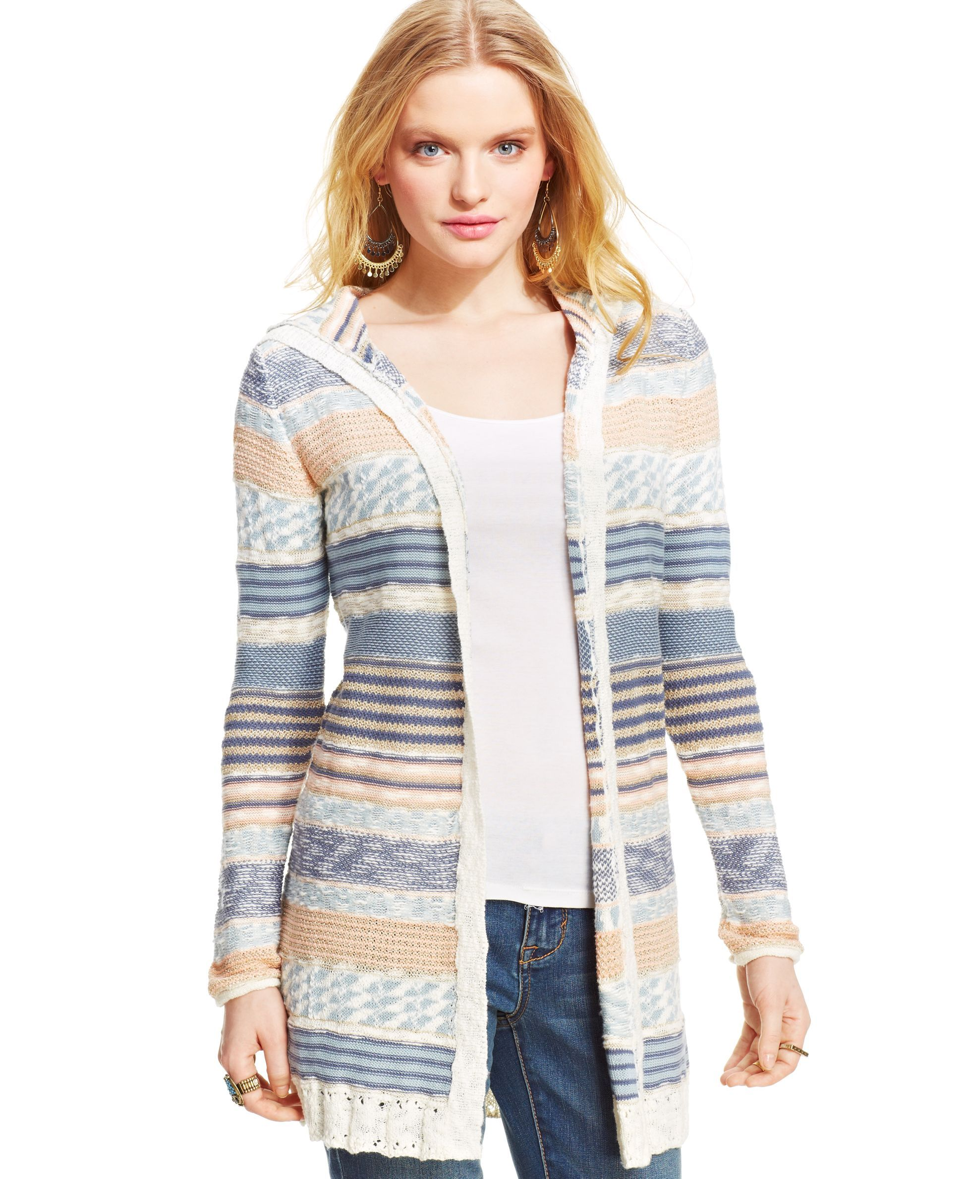 American Rag Juniors' Striped Hooded Cardigan | Products ...