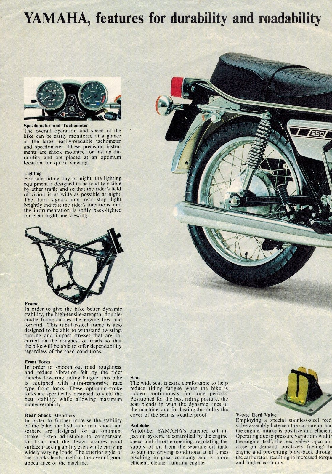 1976 Yamaha RD250 Motorcycle Sales Brochure 2 cyl 2 stroke 76 RD 250 ...