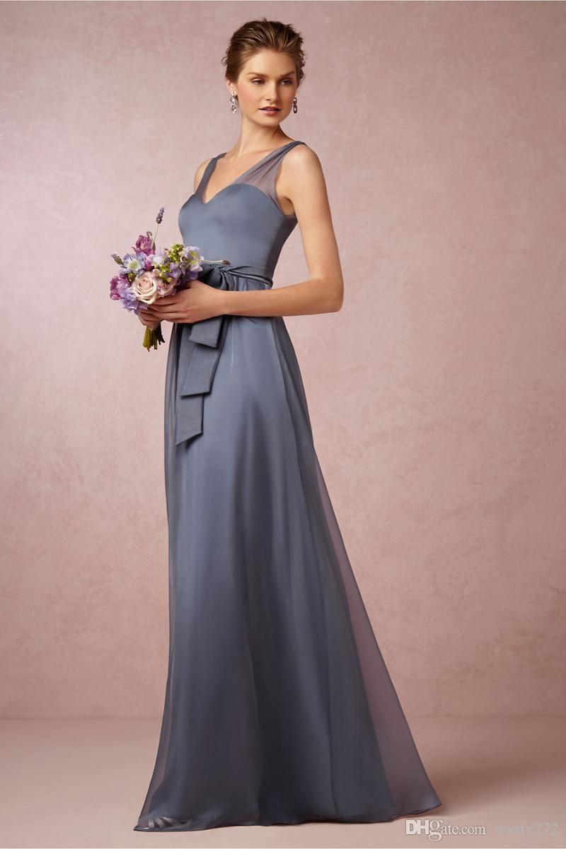 Steel Blue Sheer Chiffon Bridesmaid Dress Tops Shoulders Removable ...