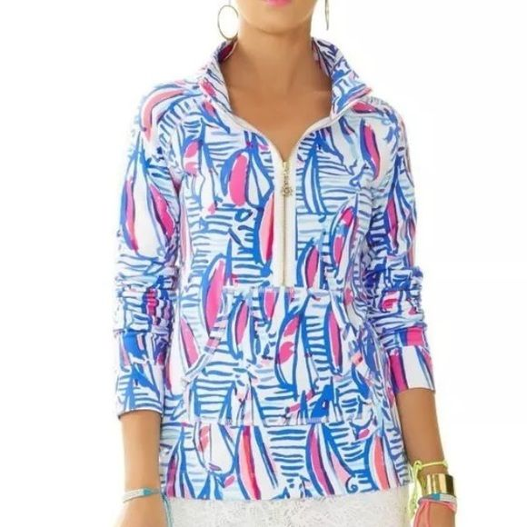 NWT LILLY PULITZER SKIPPER POPOVER MULTI POSTCARDS FROM POSITANO XS,M