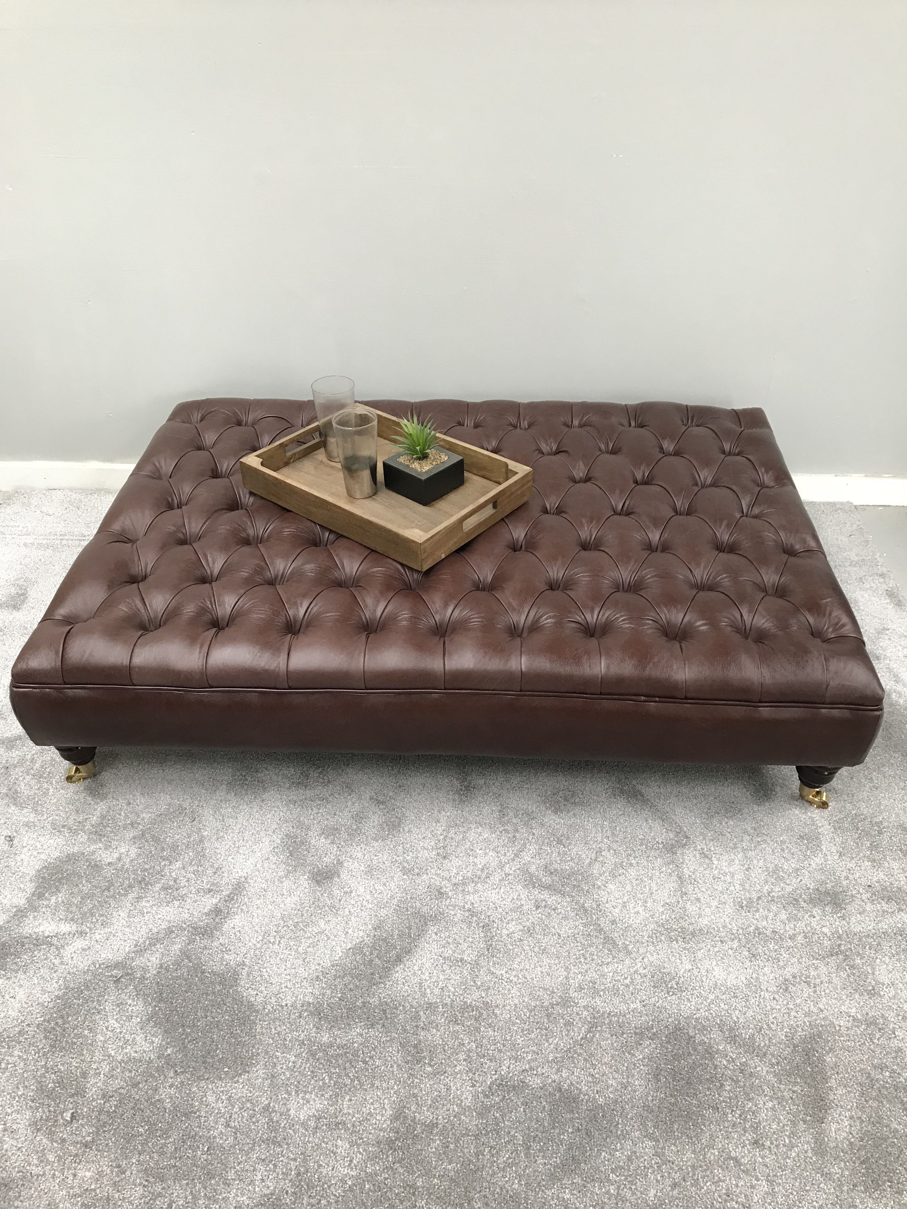 Dark Brown Leather Chesterfield Footstool Xxl Ottoman Leather