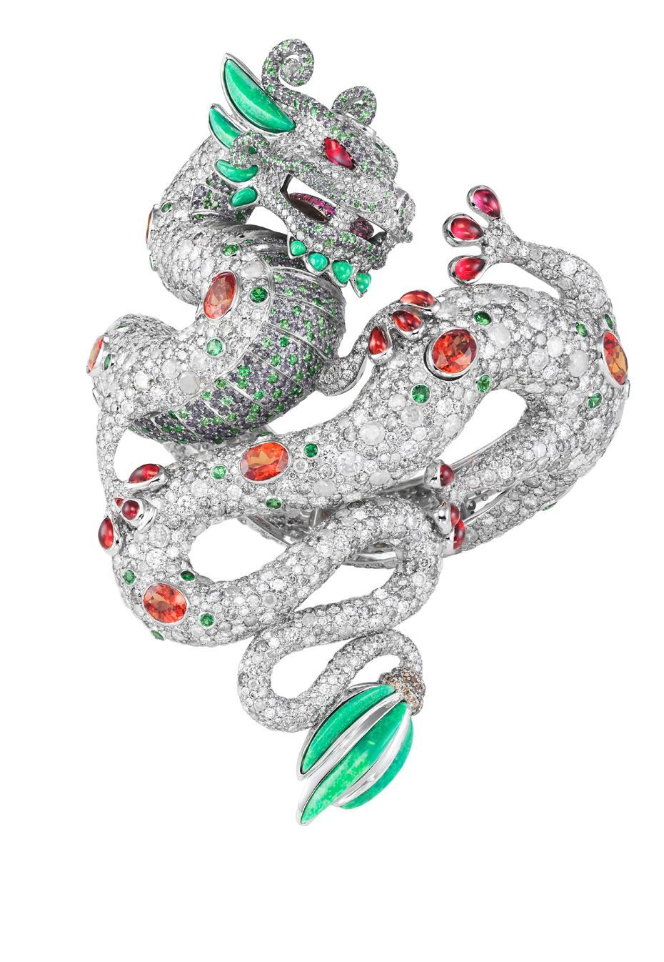 Daring and dangerous harumi klossowska de rola for chopard animal harumi klossowska for chopard dragon bracelet features rubies diamonds emerald and turquoise and fuses the major cultural symbols of the chinese dragon buycottarizona Choice Image