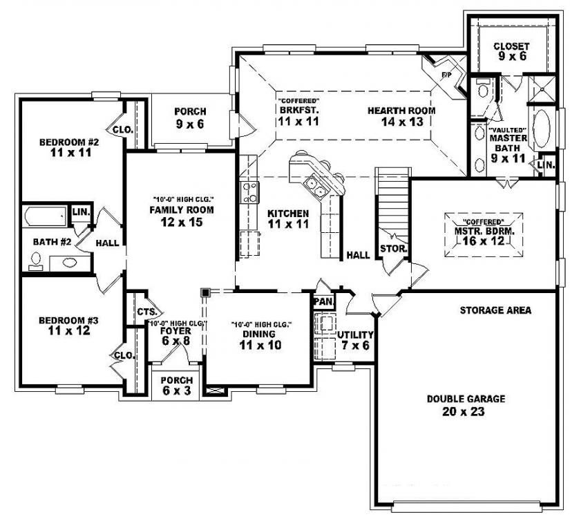 Single story open floor plans one story 3 bedroom 2 bath french traditional style house - Three bedroom house floor plans ...