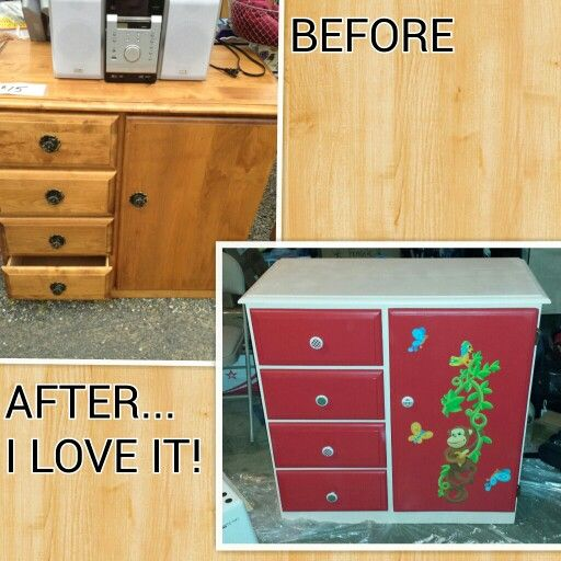 $15 garage sale dresser. Just needed a little sanding, paint, and new hardware to make it into my kiddos new dresser!  Total investment of $60!