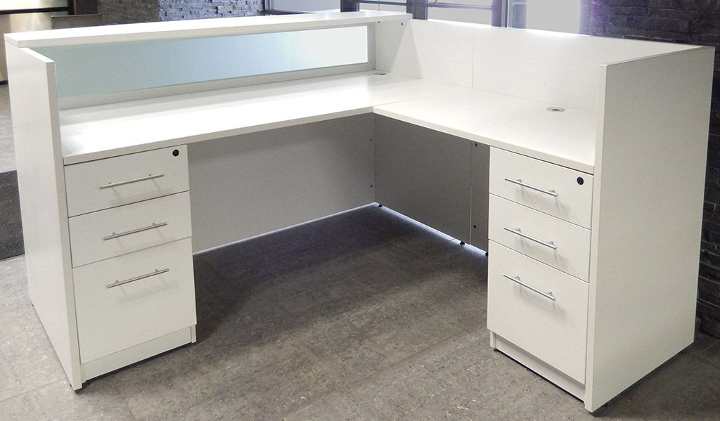 L Shaped White Reception Desk W Frosted Glass Panel Balcao Caixa