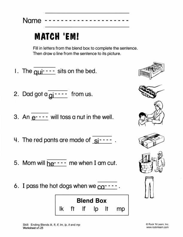 Printable Worksheets ending consonant blends worksheets : Ending Blends - Free Phonics Worksheet | consonant blends ...