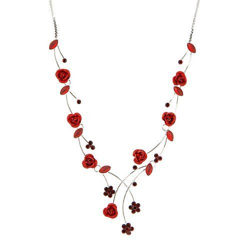 Glamorousky Elegant Rose Necklace with Red Austrian Element Crystals and Crystal Glass (500) kwySlh35