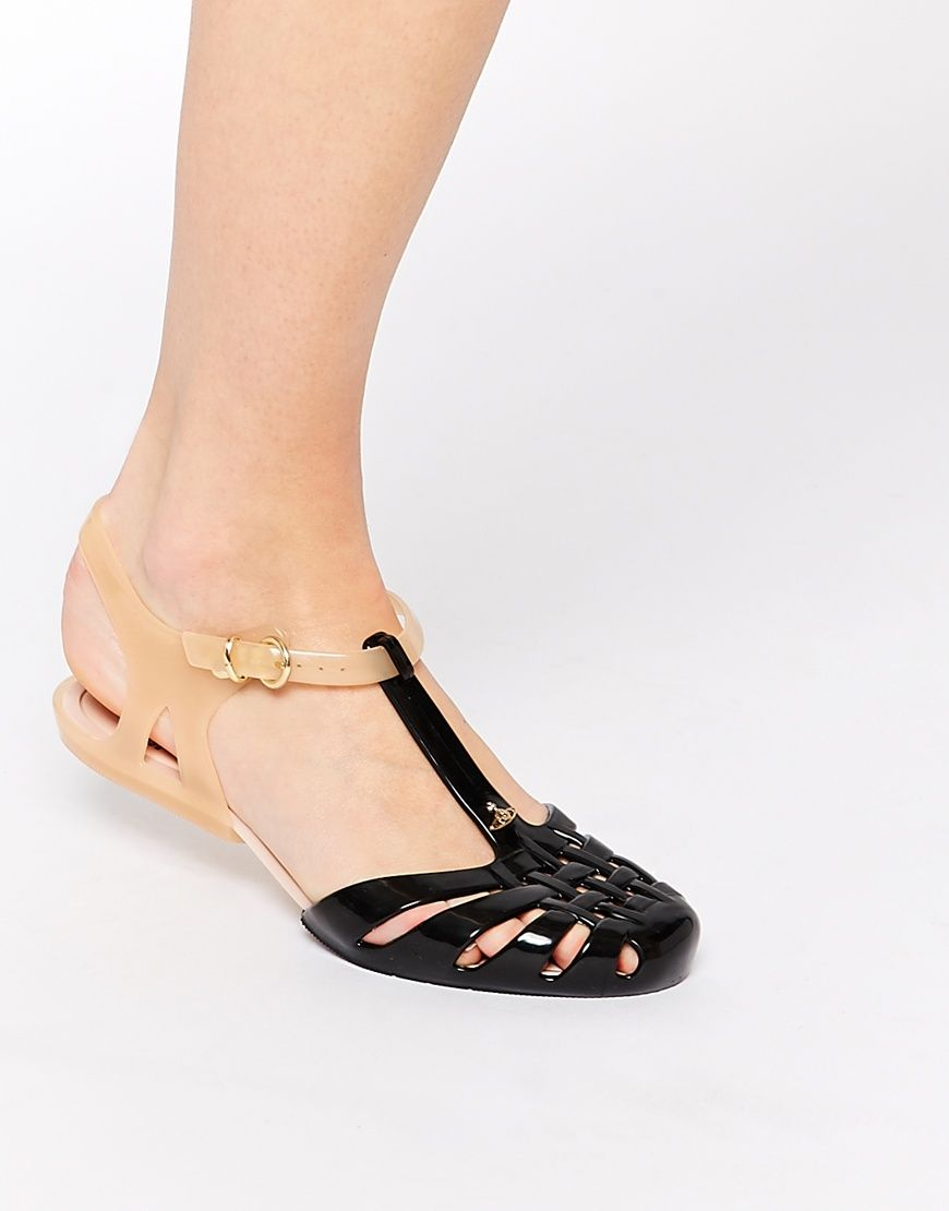 Image 4 of Vivienne Westwood For Melissa Aranha Hits Black Contrast Jelly  Flat Sandals
