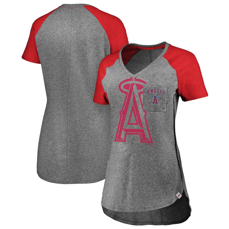 Women S Majestic Gray Red Los Angeles Angels Static Pocket Raglan V Neck T Shirt Affiliate Red Affiliate Los A Shirts Grey V Neck T Shirt Texas Rangers