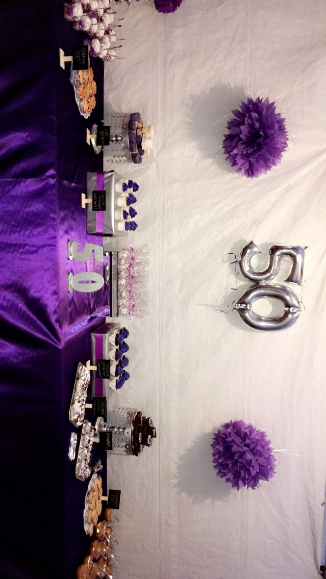 Silver And Violet Purple 50th Birthday Party Decorations