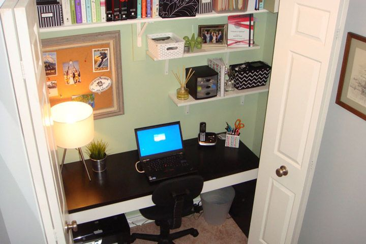 Good Turn Your Closet Into A Home Office   Quiet Corner