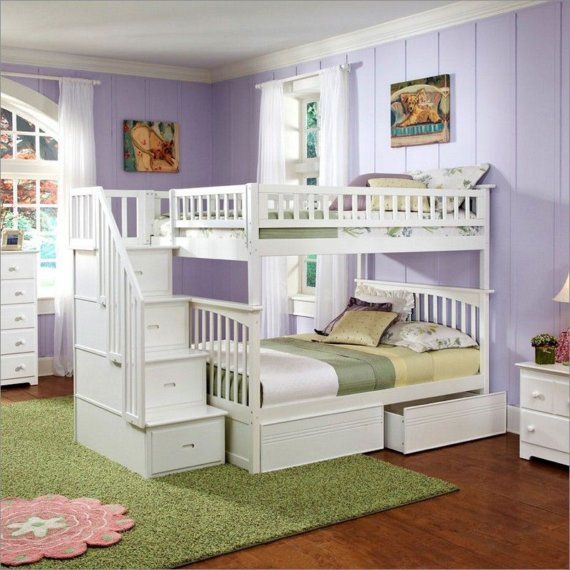 Columbia Staircase Bunk Bed Full Over Full With 2 Flat Panel Bed