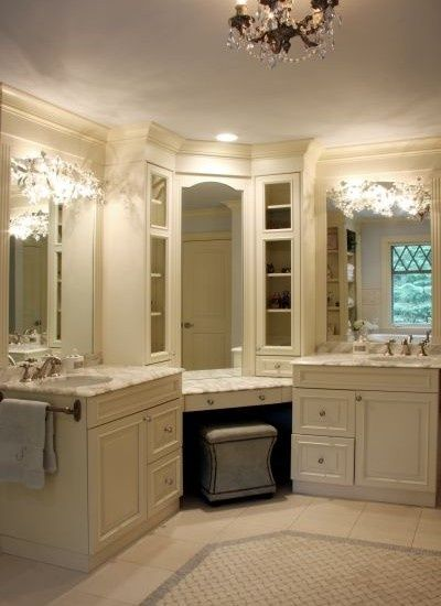 His And Hers Bath With Vanity Area In The Middle. Love It. Http: